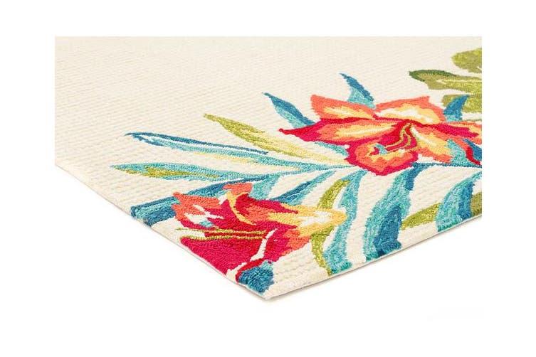 Anna Floral Indoor Outdoor Rug Cream 225x155cm