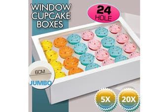 24 Holes Cupcake Boxes 20 Pk Window Face With Inserts Cake Boxes Board