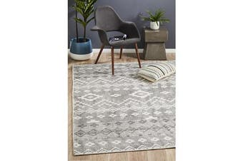 Lydia Charcoal Grey & Natural White Hand Woven Vintage Look Rug
