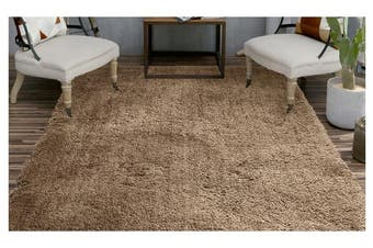 Luxury Soft Plush Thick Rectangle Shaggy Floor Rug TAUPE 120x170cm