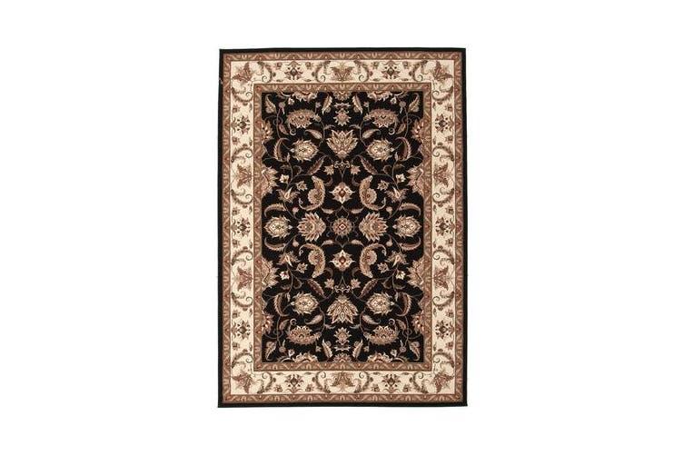 Stunning Formal Floral Design Rug Black 230x160cm