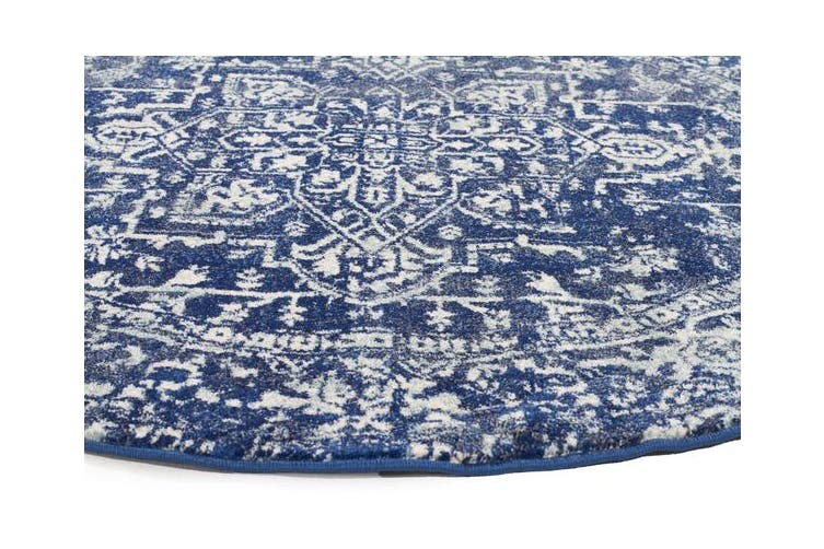 Contrast Navy Transitional Rug 240x240cm