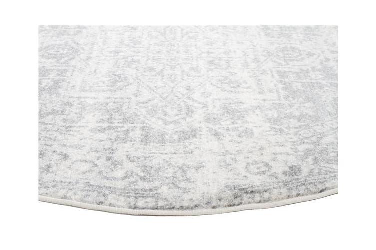 Dream White Silver Transitional Rug 240x240cm