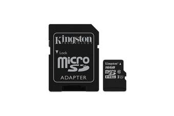 Kingston 16GB MicroSD SDHC SDXC Class10 UHS-I Memory Card 45MB/s Read 10MB/s Write with standard SD adaptor ~FMK-SDC10G2-16 SDC10G2/16GBFR