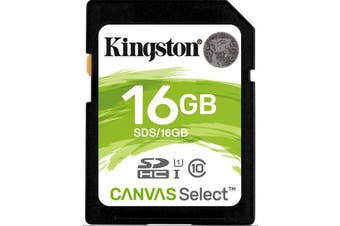 Kingston 16GB SD Card SDHC/SDXC Class10 UHS-I Flash Memory 80MB/s Read 10MB/s Write Full HD for Photo Video Camera Waterproof Shock Proof