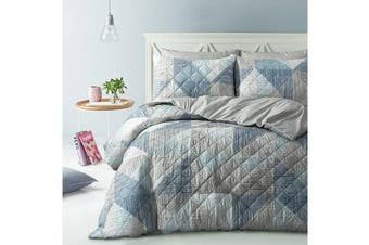 Park Avenue Microfiber Pinsonic Quilted Quilt cover set Queen Geo Lines - Reversible