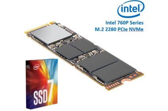 Intel 760P Series M.2 80mm 512GB SSD 3D2 TLC PCIe NVMe 3230/1625MB/s 340K/275K IOPS 1.6 Million Hours MTBF Solid State Drive 5yrs Wty ~HBI-600P-512GB