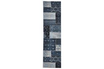 Neo Patchwork Designer Runner Rug Blue