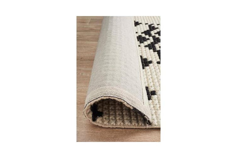Ryder Monochrome Cross Stitch Wool Rug 320x230cm