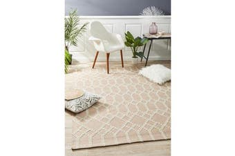 Ryder Nude & Natural White Upcycled Textured Rug 280x190cm