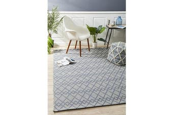 Ryder Denim & Grey Wool Textured Rug 280x190cm