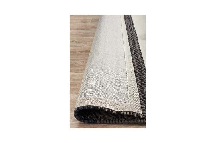 Ryder Denim & Grey Scandi Wool Textured Rug 280x190cm