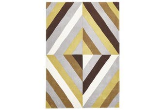 Yellow Brown Grey Crystal Prism Rug  165x115cm
