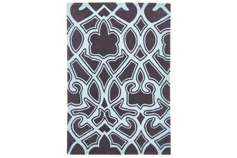 Gothic Tribal Design Rug Smoke Grey and Blue 225x155cm