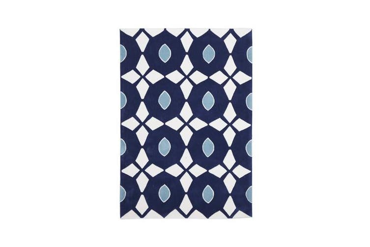 Navy and Yellow Nest Rug 225x155cm