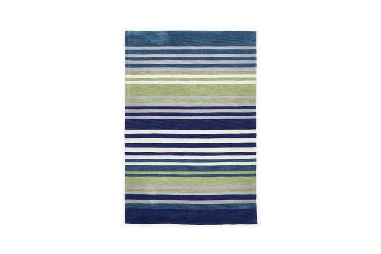 Modern Abrash Stripes Rug Blue Green 225x155cm