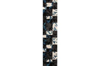 Squares and Vines Runner Rug Charcoal Blue