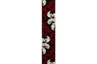 Damask Leaf Design Runner Rug Red Black