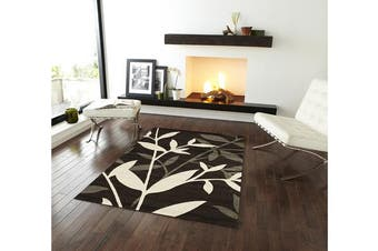 Stunning Spring Leaf Rug Dark Brown 150x80cm