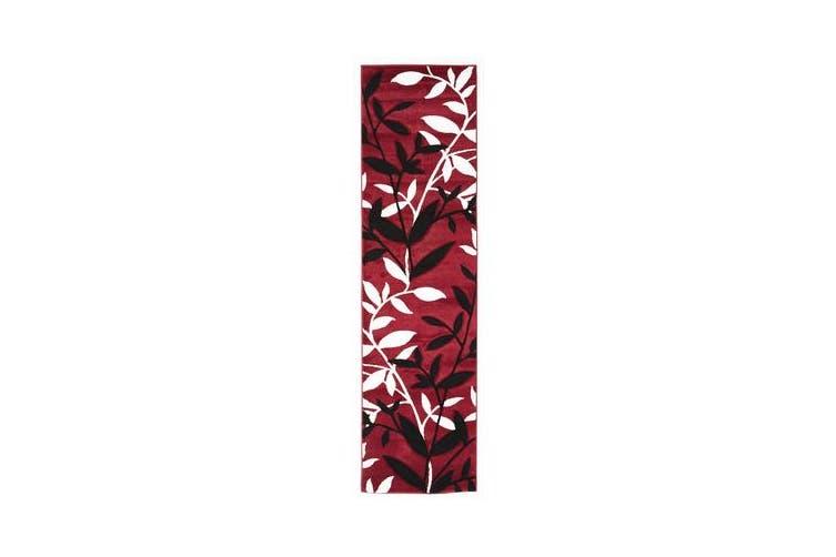 Stunning Spring Leaf Rug Red Black 400x80cm