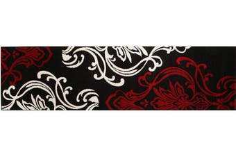 Stunning Thick Patterned Runner Rug Black