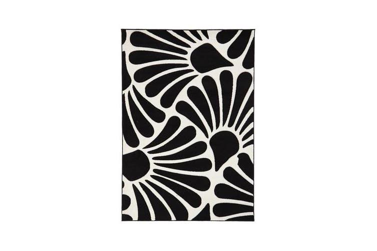 Damask Modern Fern Rug Black White 170x120cm