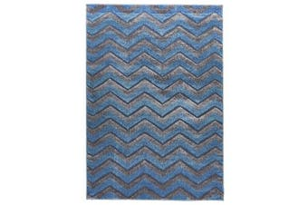 Modern Chevron Design Rug Blue Grey