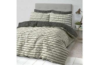 Park Avenue Microfiber Pinsonic Quilted Quilt cover set King Industrial Stripes - Reversible
