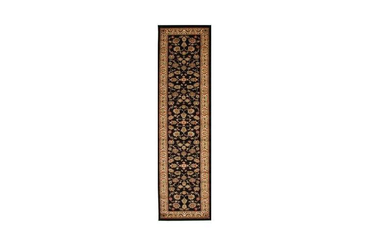 Traditional Floral Pattern Runner Black 300x80cm