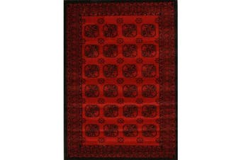 Classic Afghan Pattern Runner Rug Red