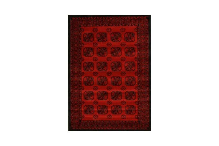 Classic Afghan Pattern Runner Red 400x80cm