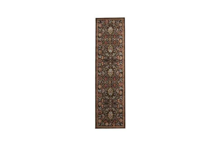 Nain Persian Design Rug Brown Red 300x80cm
