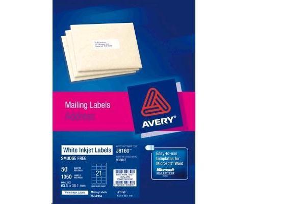 AVERY INKJET LABELJ8160-50 50 SHEETS