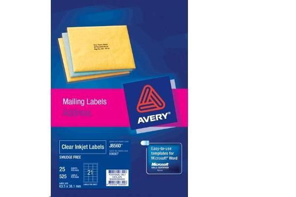 AVERY INKJET LABELJ8560-25 25 SHEETS