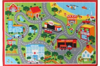 Kids Non Slip Road Map Beach Rug Red