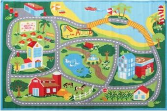 Kids Non Slip Road Map Beach Rug Blue