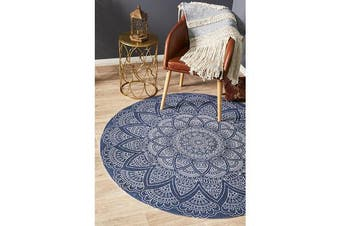Blue Hand Braided Cotton Coastal Flat Woven Rug - 120X120CM