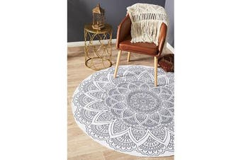 White Hand Braided Cotton Hamptons Flat Woven Rug - 120X120CM