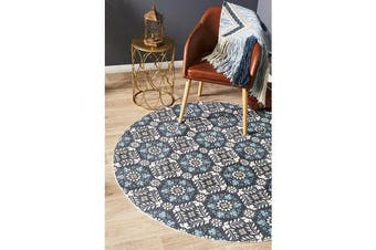 Blue Hand Braided Cotton Florale Flat Woven Rug - 120X120CM