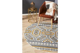 Gold & White Hand Braided Cotton Retro Flat Woven Rug - 120X120CM