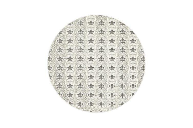 Silver Hand Braided Cotton Fleur-de-lis Flat Woven Rug - 120X120CM