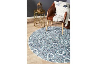 Sky Blue Hand Braided Cotton Blooming Flat Woven Rug - 120X120CM