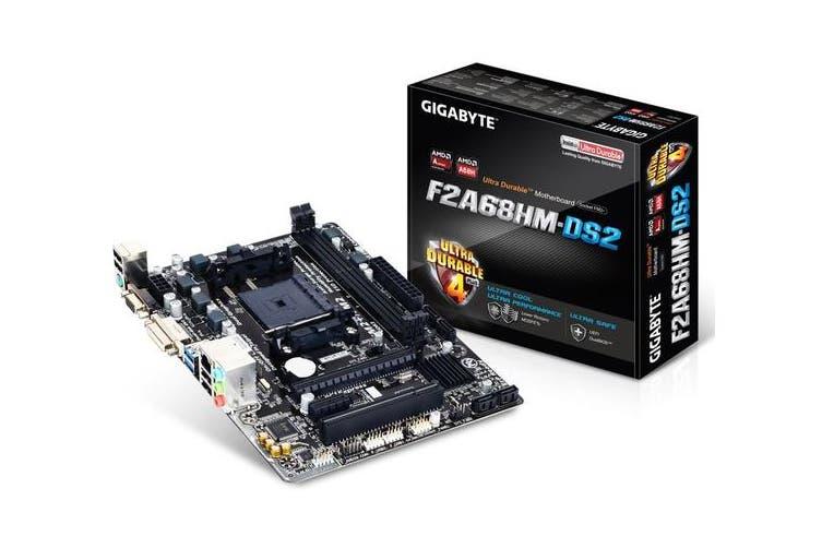 Gigabyte GA-F2A68HM-DS2 FM2+ mATX Motherboard A68 2xDDR3 VGA DVI GbE LAN 1xPCI-Ex16 4xSATA3 2xUSB3 ~GA-F2A88XM-D3HP