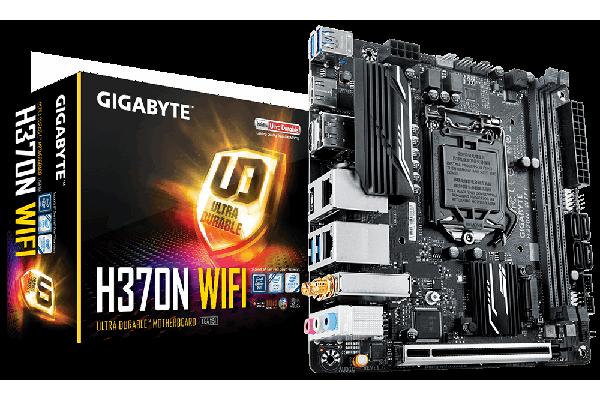 Gigabyte GA-H370N-WIFI LGA1151 8Gen mini ATX MB 2xDDR4 1xPCIe HDMI DP 2xM.2 4xSATA3 RAID 2xIntel GbE LAN WIFI BT USB-C 6xUSB3.1 RGB