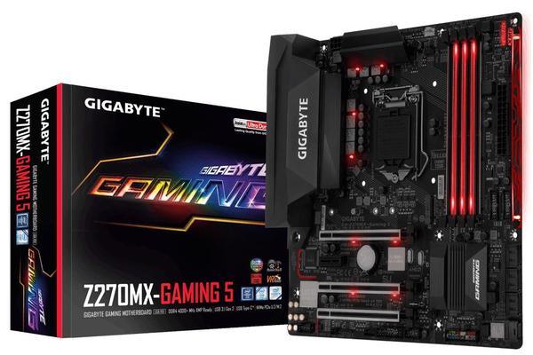 Gigabyte GA-Z270MX-Gaming-5 LGA1151 mATX MB 4xDDR4 4xPCIe DP HDMI RAID 2xM.2 U.2 Killer NIC USB-C 2xSLI 3xCF RGB Sound Blaster ~GA-Z270X-GAMING K5 K3