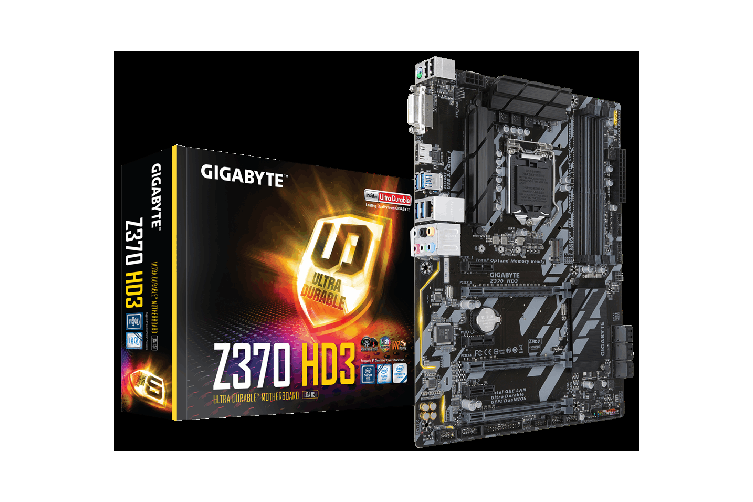 Gigabyte GA-Z370 HD3 LGA1151 8Gen ATX Motherboard 4xDDR4 6xPCIe DVI HDMI 1xM.2 6xSATA3 RAID Intel GbE LAN Crossfire 8xUSB3.1 RGB