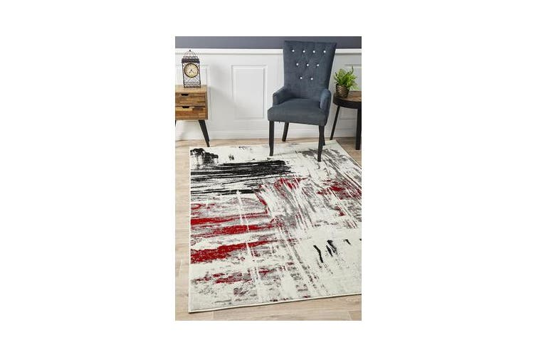 Felicia Red & Charcoal Soft Abstract Rug 290x200cm