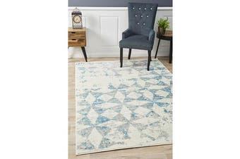 Felicia Blue & Ivory Soft Tile Rug 290x200cm