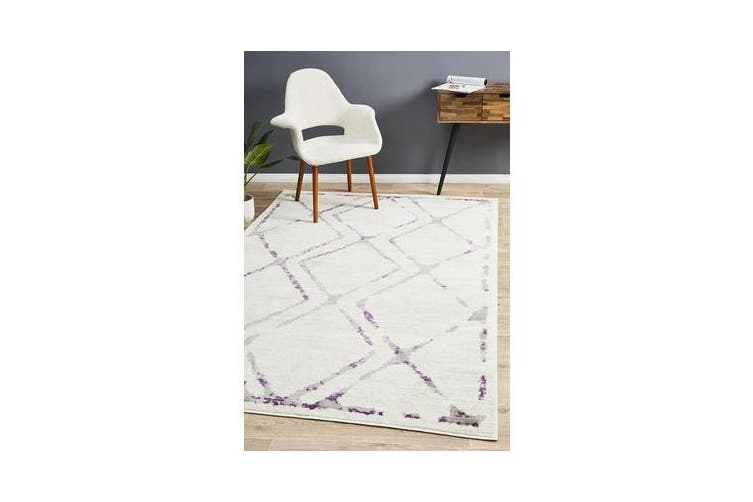 Felicia Purple & Ivory Soft Abstract Rug 330x240cm