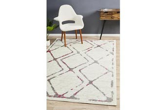 Felicia Pink & Ivory Soft Abstract Rug 400x300cm